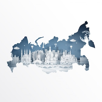 Concetto della mappa della russia con il punto di riferimento famoso per la cartolina di viaggio e il manifesto, opuscolo, pubblicità