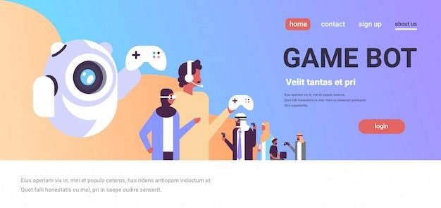 Concetto della pagina di destinazione del bot del gioco con il popolo arabo