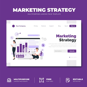 Concetto della pagina di destinazione della strategia di marketing