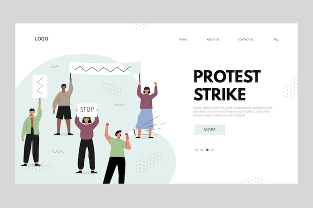 Concetto della pagina di destinazione dello sciopero di protesta