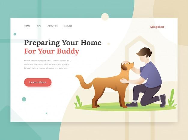 Concetto della pagina di destinazione di adozione dell'animale domestico