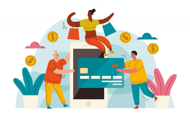 Concetto della pagina di destinazione di pagamento con carta di credito
