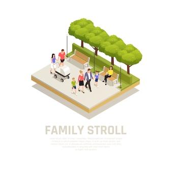 Concetto della passeggiata della famiglia con la passeggiata nel parco nei simboli del parco isometrici