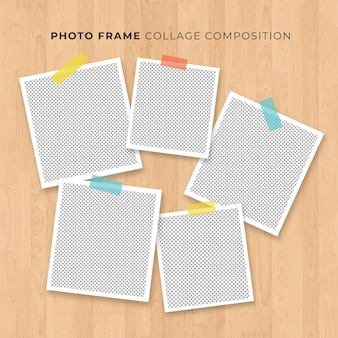 Concetto della polaroid del collage della struttura della foto su fondo di legno