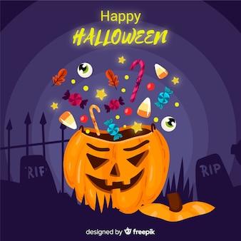 Concetto della priorità bassa della borsa della caramella di halloween