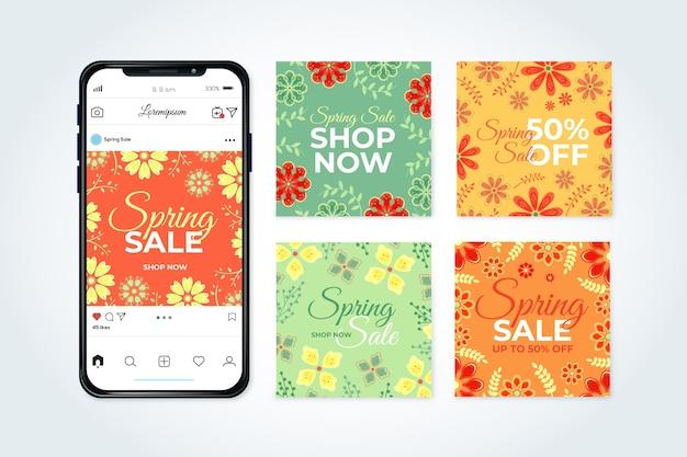 Concetto della raccolta della posta della posta di instagram di vendita della primavera