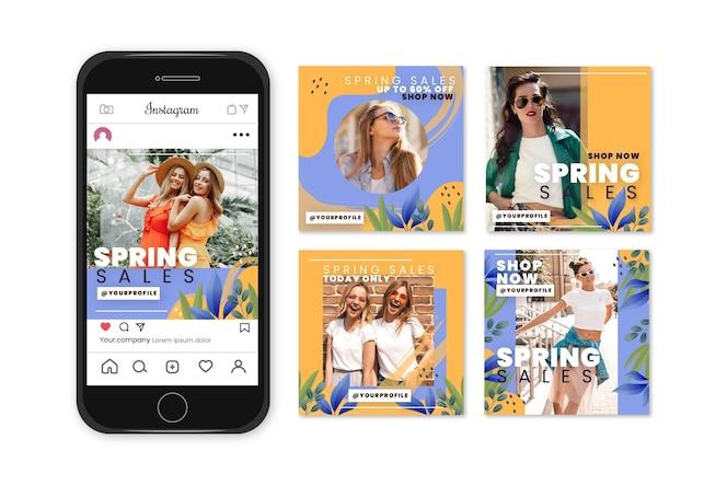 Concetto della raccolta di storia del instagram di vendita della primavera
