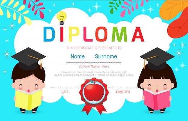 Concetto della scuola materna di istruzione del diploma dei bambini del certificato. illustrazione