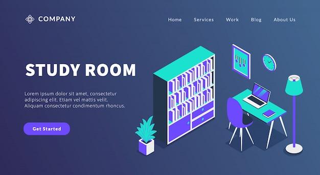 Concetto della stanza di studio con il computer portatile dell'area di lavoro dello scaffale e della tavola di libro per il modello del sito web o il homepage di atterraggio