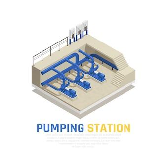 Concetto della stazione di pompaggio con simboli di pulizia dell'acqua isometrici