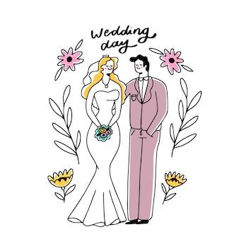 Concetto delle coppie di nozze del disegno a mano