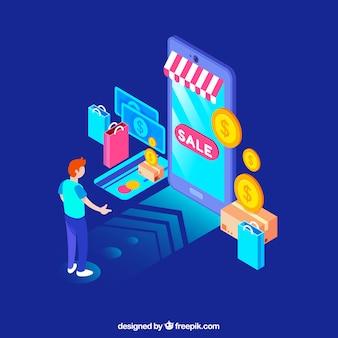 Concetto dello shopping online con design piatto