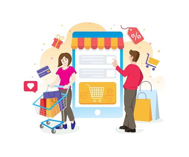 Concetto dello shopping online con personaggi