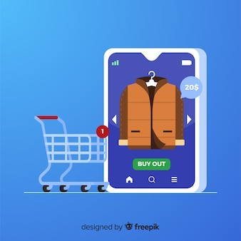 Concetto dello shopping online per la pagina di destinazione