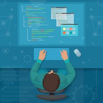 Concetto dello sviluppatore dell'ingegnere del software dell'uomo