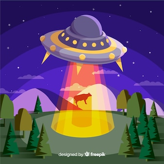 Concetto di abduction colorato ufo con design piatto