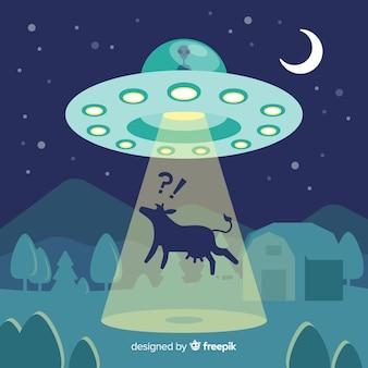 Concetto di abduction colorato ufo con design piatto