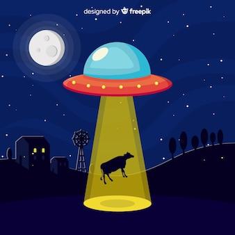Concetto di abduction ufo con design piatto