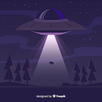 Concetto di abduction ufo con design piatto
