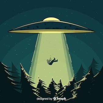 Concetto di abduction ufo con stile disegnato a mano