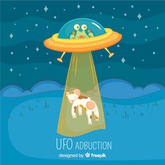 Concetto di abduction ufo disegnato a mano