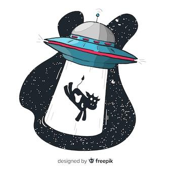Concetto di abduction ufo mano moderna disegnata