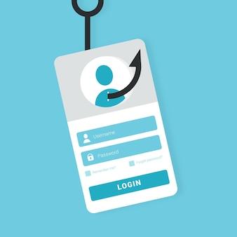 Concetto di account di phishing con l'illustrazione del gancio