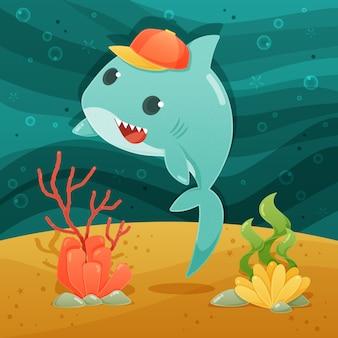 Concetto di acqua bambino squalo