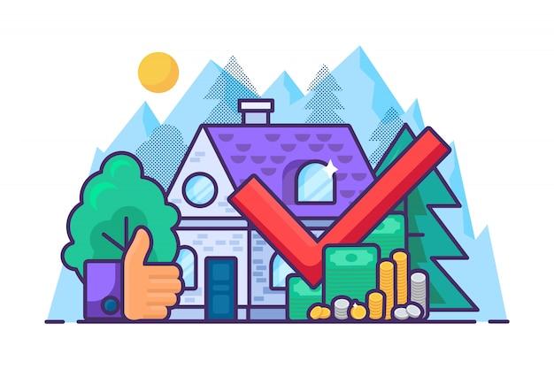 Concetto di acquisto immobiliare. investimenti e denaro