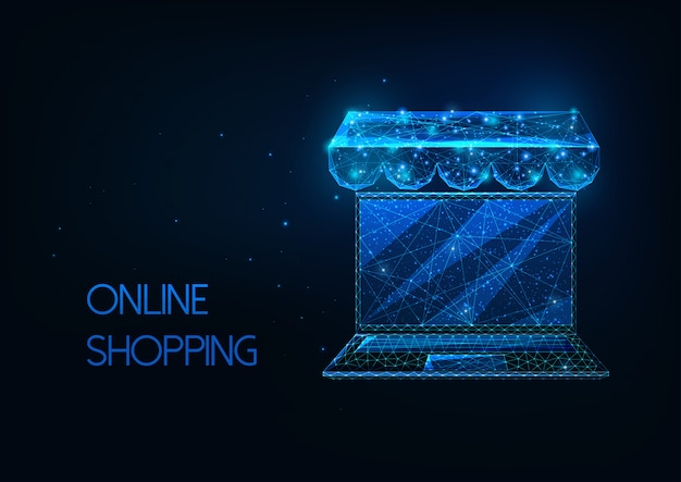 Concetto di acquisto online futuristico con laptop poligonale basso incandescente