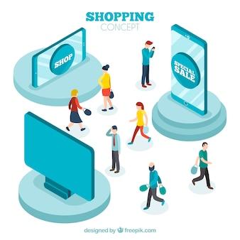 Concetto di acquisto online isometrica