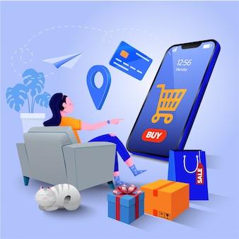 Concetto di acquisto online, marketing digitale sul sito web e applicazione mobile