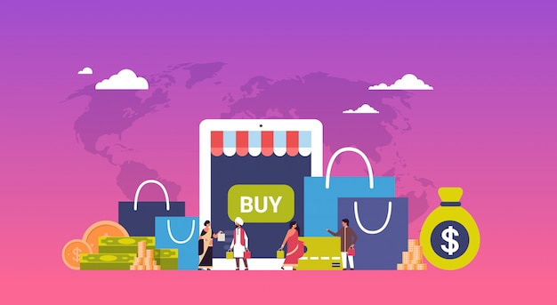 Concetto di acquisto online sopra l'insegna del dollaro dei soldi dei pacchetti di carta