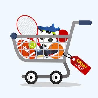 Concetto di acquisto online. vendita di attrezzature sportive con carrello.