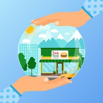 Concetto di affari che apre ristorante fast food