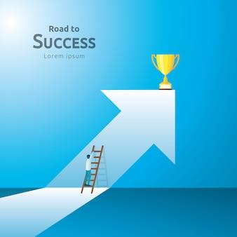 Concetto di affari con la tazza del trofeo. direzione della freccia verso il vincitore del successo