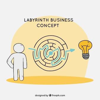 Concetto di affari con labirinto disegnato a mano