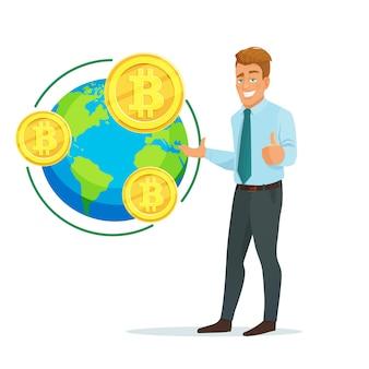Concetto di affari con uomo d'affari e bitcoin