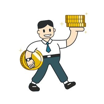 Concetto di affari del fumetto un uomo d'affari con la grande pila della moneta