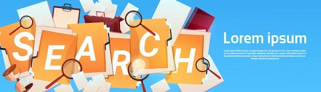 Concetto di affari di carta di lavoro della lente d'ingrandimento di ricerca del documento cartaceo