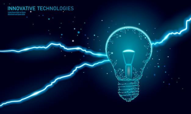 Concetto di affari di idea della lampadina. informazioni sul fulmine. situazione lavorativa pericolosa. illustrazione di vettore del triangolo poligonale 3d