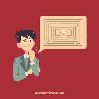 Concetto di affari disegnati a mano con labirinto