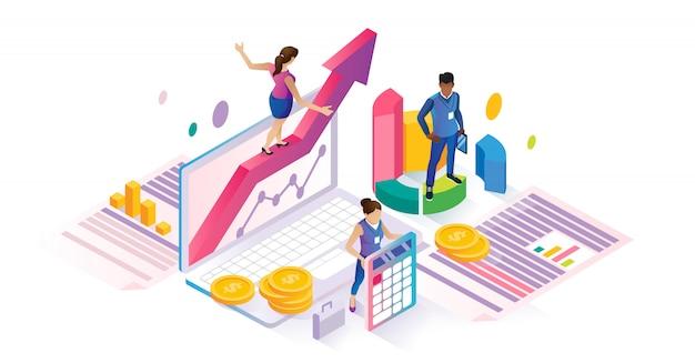 Concetto di affari finanziari del cyberspace isometrico di economia