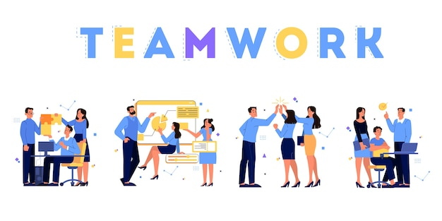 Concetto di affari. idea di strategia e realizzazione nel lavoro di squadra. brainstorming e processo di lavoro. le persone lavorano insieme in un set di squadra. illustrazione