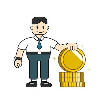Concetto di affari un uomo d'affari con una grande pila di monete