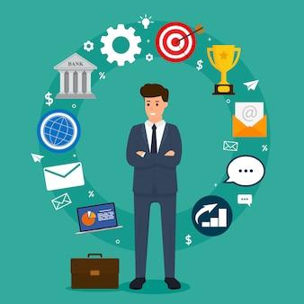 Concetto di affari. uomo d'affari che sta in composizione negli elementi del cerchio. illustrazione vettoriale di carattere aziendale.