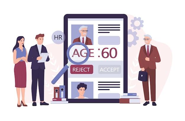 Concetto di ageismo di reclutamento. lo specialista delle risorse umane rifiuta un vecchio cv. ingiustizia e problema occupazionale degli anziani. il dipartimento delle risorse umane non assume persone di 50 anni. illustrazione