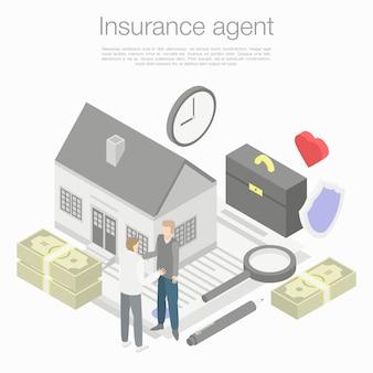 Concetto di agente assicurativo, stile isometrico