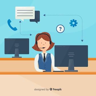 Concetto di agente femminile call center