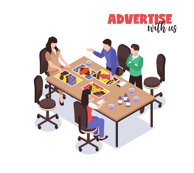 Concetto di agenzia pubblicitaria con simboli di pensiero creativo isometrica